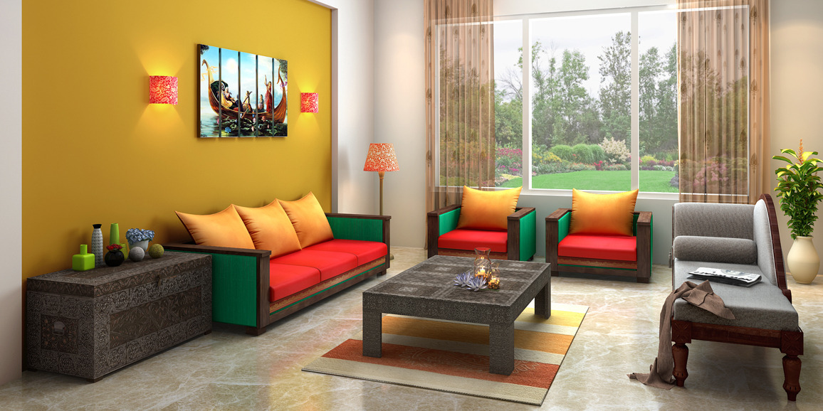 Indian ethnic living room designs online indian soul for Indian ethnic living room designs