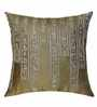 13 Odds Yellow Silk 16 x 16 Inch Egyptian Pictography Embroidered Cushion Cover