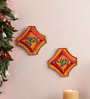 999Store Multicolour Wooden Handmade Diwali Shubh Labh Door Hanging - Set of 2