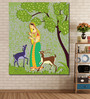 999Store Vinyl 60 x 0.4 x 72 Inch Lady with Deer in Indian Painting Unframed Digital Art Print