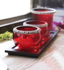 Aapno Rajasthan Red Glass Tea Light Holder with Stand - Set of 3