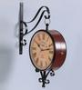 Anantaran Black Metal 16 x 4 x 16 Inch Replica Double Side Railway Wall Clock