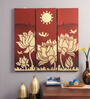 Artelier Multicolour Canvas Lotus Birds Wall Panel