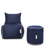 Denim Bean Chair XL & Puffy Filled with Beans in Blue Color by Can - Set of 2