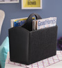 Belmun Leatherette Black Jute Finish Curved Magazine Holder