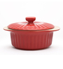 Bergner Red Stoneware 1.5 L Round Casserole with Lid