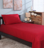 Bianca Red 100% Cotton Single Size Bedsheet - Set of 2