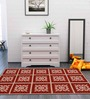 Block Flower Area Rug Red by Riva