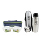 Borosil Transparent Borosilicate Glass 320 ML Tiffin Set with Stainless Steel Camel Flask - Set of 2
