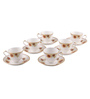 Bp Bharat Ngr Rosy Fine Bone China 150 ML Cup & Saucer - Set of 6