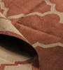 Carpet Overseas Brown Cotton 72 x 49 Inch Lattice Design Flatweave Area Rug