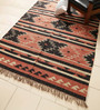 Carpet Overseas Rust & Black Jute 96 x 60 Inch Kilim Design Flatweave Area Rug