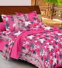 Casa Basic Pink Nature & Florals Cotton Queen Size Bed Sheets - Set of 3