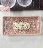 Cdi Red and White Stoneware Mughal Art Rectangular Platter