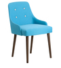 Celano Accent Chair (Set of 2) in Blue Color with Cappuccino Legs by CasaCraft