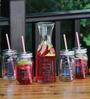 Circleware Country Glass Carafe & Mason Jar with Straw - Set of 5