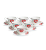 Clay Craft Red Ruffles Bone China 195 ML Cup & Saucer - Set of 6