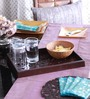 Cocktail Brown Wooden Floral Medium Serving Tray