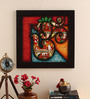 Cocovey Canvas 16 x 2 x 16 Inch Om Style Paglya Art Framed Rajasthani Style Phad Painting