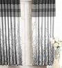 Cortina Black Jacquard Premium Door Curtain- Set of 2