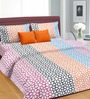 Cortina Orange Cotton Floral Double 100 x 90 Inch Bed Sheet (with Pillow Covers)