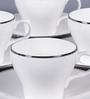 Dandy Lines Liza 180 ML Bone China Cups & Saucers - Set of 6