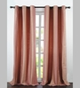 Deco Essential Peach Jacquard Dot Box 60 x 46 Inch Single Panel Curtain - Set of 2
