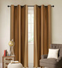 Deco Essential Gold Polyester 46 x 90 Inch Jacquard Eyelet Door Curtain - Set of 2