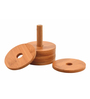 Deco Pride Round Brown Wooden Coasters with Holder - Set of 6