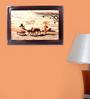 Mantapas Red Rosewood Village at Sunset Inlay Wall Panel