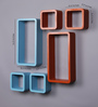 AYMH Orange & Sky Blue MDF Cube & Rectangle Designer Wall Shelves - Set Of 6