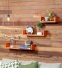 AYMH Orange MDF U-Shaped Wall Shelf - Set of 3