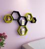 AYMH Black & Green MDF Hexagon Wall Shelf - Set of 6