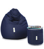 Denim Bean Bag (Set of 2) & Round Puffy Filled with Beans in Blue Colour by Can
