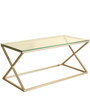 Designer Metal Coffee Table with Tempered Glass in Champagne by Artistic Indians