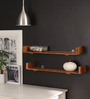 Herberto Contemporary Wall Shelves Set of 2 in Brown by CasaCraft