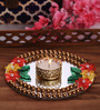 Largessee Gold Acrylic Floral & Beaded Tea Light