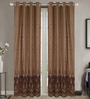 Dreamscape Brown Poly Cotton 48 x 84 Inch Door Curtains - Set of 2