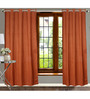 Dreamscape Brown Polyester 84 x 47 Inch Floral Eyelet Door Curtains - Set of 2