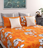 Dreamscape Yellow Cotton Damask Queen Bed Sheet (with 2 Pillow Covers)-Set of 3