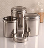 Dynore see through Silver Canister - Set of 3