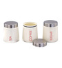 Dynore Conical Cream Round 900 ML Tea, Coffee and Sugar Canister - Set of 3