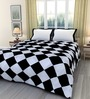 eCraftIndia Black & White Poly Cotton 84 x 54 Inch Single Bed Reversible AC Blanket