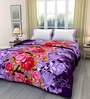 eCraftIndia Purple Poly Cotton Floral 84 x 54 Inch Single Bed Reversible AC Blanket