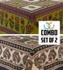 eCraftIndia Brown Cotton Striped & Checkered Double Bed Sheet (with Pillow Covers) - Set of 8
