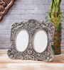 eCraftindia Silver Metal 7.5 x 0.5 x 6.5 Inch Antique Finish Round Collage Photo Frame