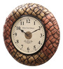 Ethnic Clock Makers Multicolor MDF & Metal 16 Inch Round Brass Flower Fit Handmade Wall Clock