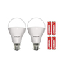Eveready Cool Day White 12W B22 Pin Type LED Bulbs - Set of 2 with 4 Batteries
