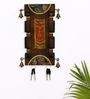 Exclusivelane Brown Mango Wood & Brass Elegant Dhokra & Warli Key Holder
