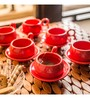 Exclusivelane Studio Pottery Red Ceramic 110 ML Cups & Saucers - Set of 6
